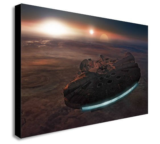 Millenium Falcon Star Wars Movie Planet Canvas Wall Art Framed Print - Various Sizes