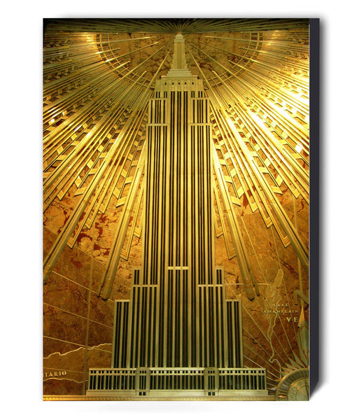 Gold Empire State Building Art Deco Canvas Wall Art Framed Print - Various Sizes