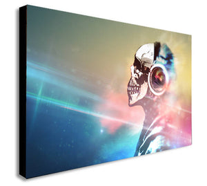 Banksy DJ Skull Canvas Wall Art Print - Various Sizes