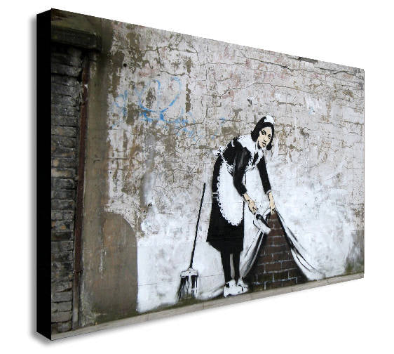 Banksy Maid Sweeping Canvas Wall Art Framed Print - Various Sizes