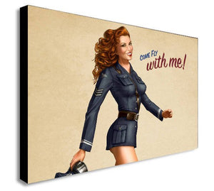 Come Fly With Me Pinup Girl Retro Canvas Wall Art Print - Various Sizes