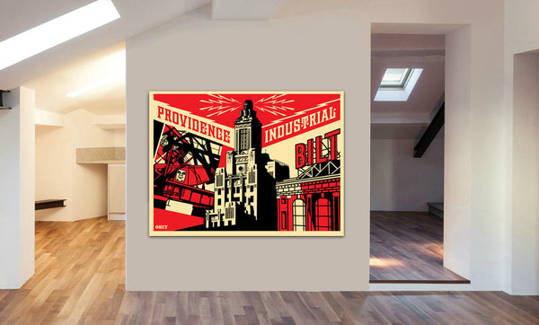 Providence Industrial Obey Canvas Wall Art Print - Various Sizes