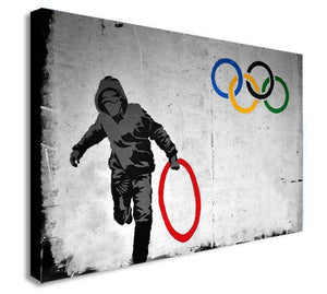 Banksy Olympic Rings Thug Thief Canvas Wall Art Framed Print - Various Sizes
