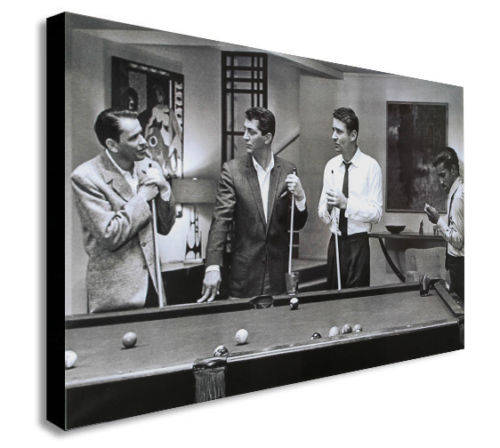 The Rat Pack Playing Pool Canvas Wall Art Framed Print - Various Sizes