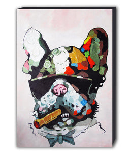 French Bulldog Smoking Abstract Canvas Wall Art Framed Print - Various Sizes