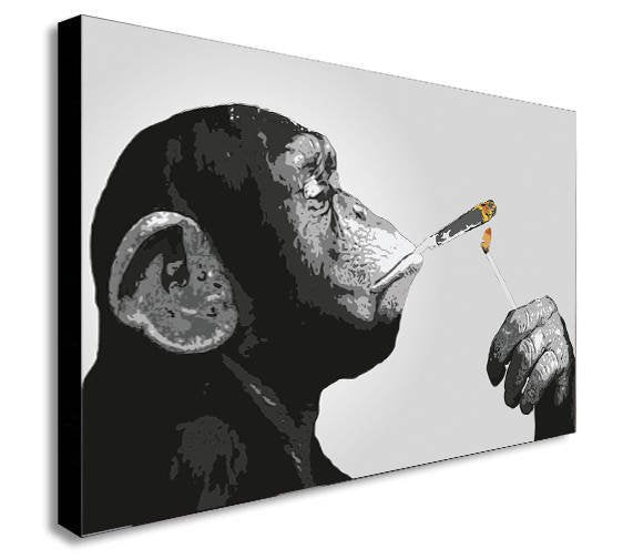 Monkey Chimp Smoking Spliff Canvas Wall Art Framed Print - Various Sizes