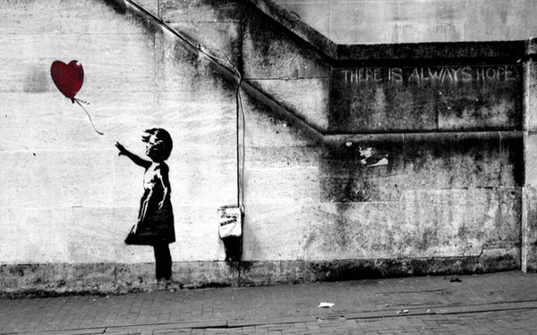 Banksy Balloon Girl There Is Always Hope Canvas Wall Art Framed Print - Various Sizes