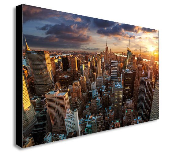 New York Skyscrapers Sunset Canvas Wall Art - Various Sizes