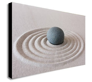 Zen Pebble Ripple Sand Canvas Wall Art - Various Sizes