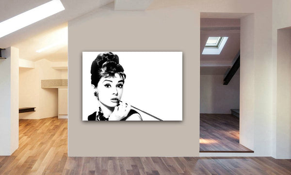 Audrey Hepburn Black And White Canvas Wall Art Print - Various Sizes