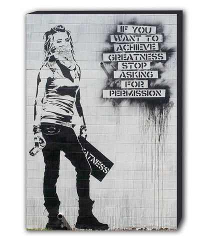 Banksy Achieve Greatness Masked Girl Canvas Wall Art Framed Print