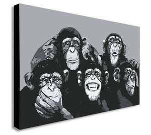Monkey Chimps Family Selfie Canvas Wall Art Framed Print - Various Sizes
