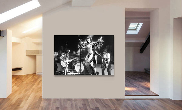 The Rolling Stones - Live - Black And White - Canvas Wall Art Print - Various Sizes