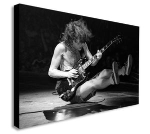 Angus Young - ACDC Live - Black And White - Canvas Wall Art Framed Print - Various Sizes