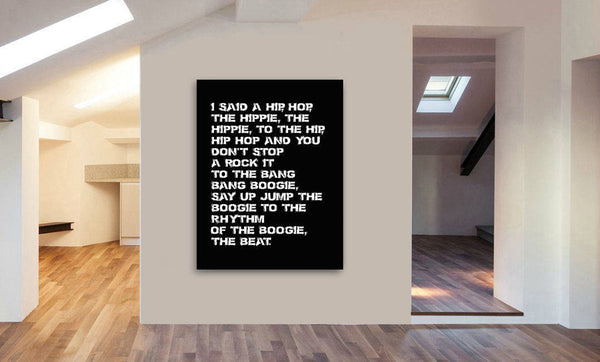 Rappers Delight - The Sugarhill Gang Lyrics Canvas Wall Art Framed Print - Various Sizes