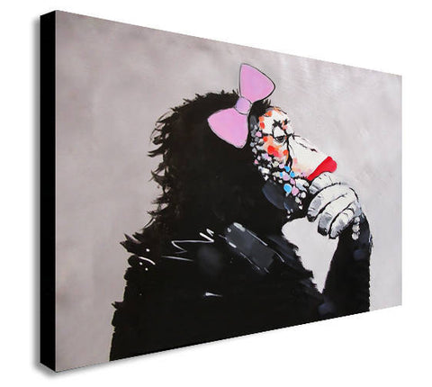 Banksy Female Monkey Gorilla Chimp Thinker Canvas Wall Art Print
