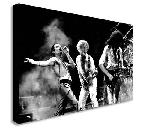 QUEEN Rock Band - Live - Black and White Canvas Wall Art Print - Various Sizes