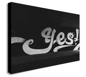 YES Graffiti - Black and White Canvas Wall Art Print - Various Sizes