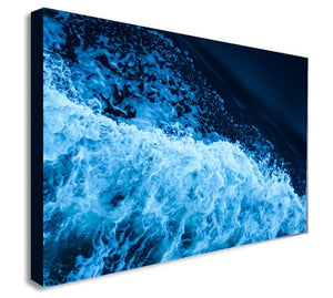Splash - Wave - Water - Abstract Navy Blue Canvas Wall Art Print - Various Sizes