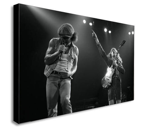 ACDC - Angus Young - Brian Johnson - Live - Canvas Wall Art Framed Print - Various Sizes