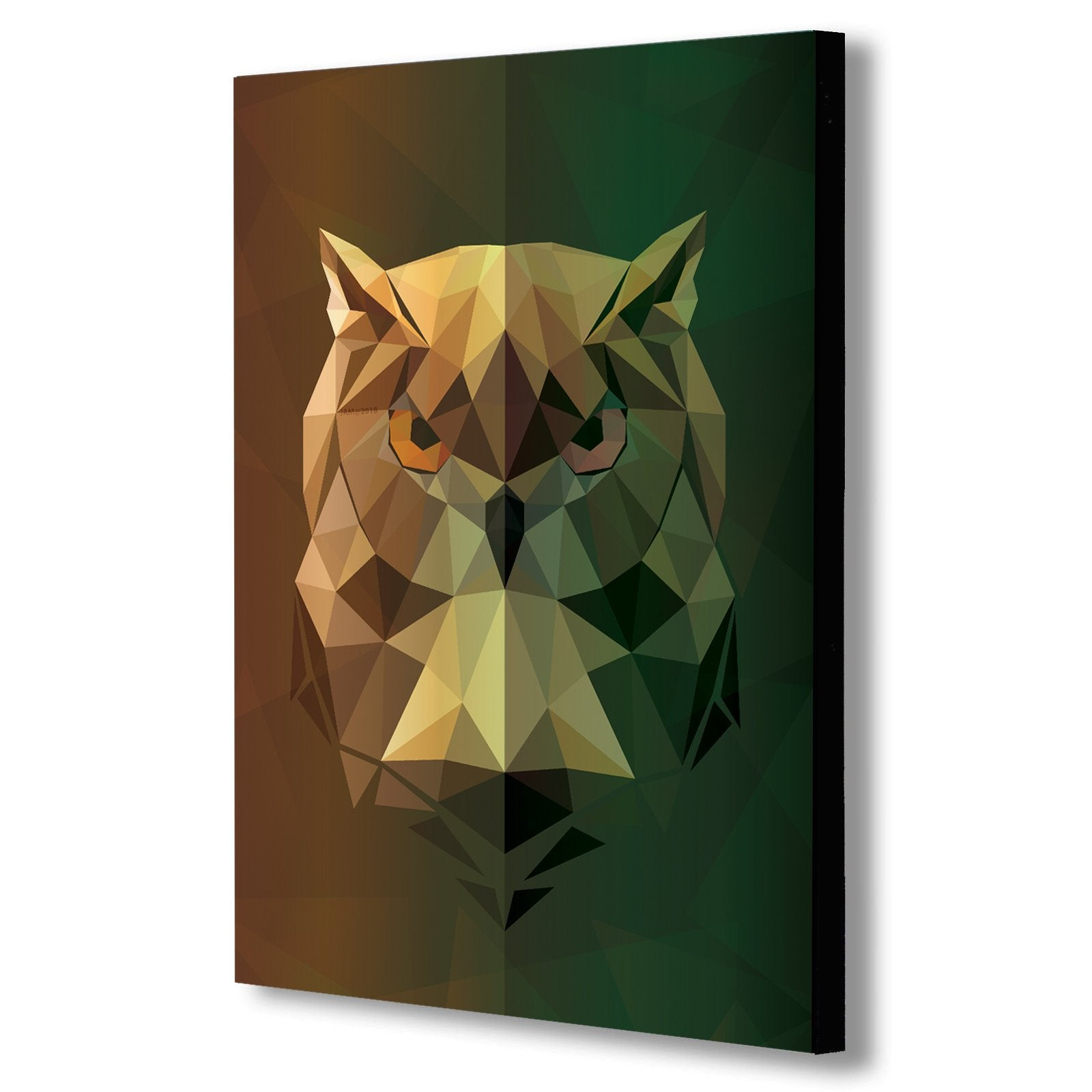 OWL- Geometric Abstract Modern Canvas Wall Art Framed Print - Various Sizes