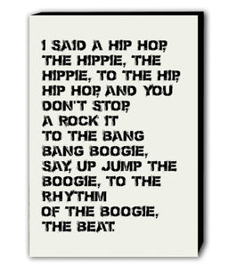 Rappers Delight - The Sugarhill Gang Lyrics - White Canvas Wall Art Framed Print - Various Sizes