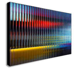 Abstract Yellow Blue Red Lines - Modern Canvas Wall Art Print - Various Sizes