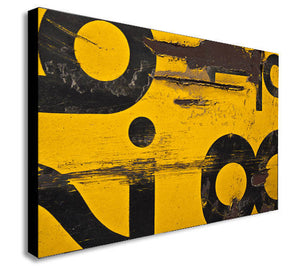 Yellow - Numbers - Abstract - Distressed - Canvas Wall Art Framed Print - Various Sizes