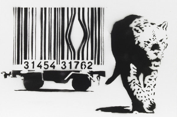 Banksy Barcode Leopard - Canvas Wall Art Framed Print - Various Sizes