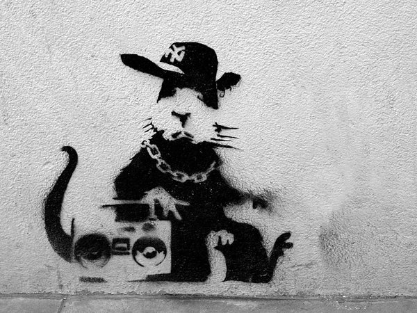 Banksy Rat Rapper - Canvas Wall Art Framed Print - Various Sizes