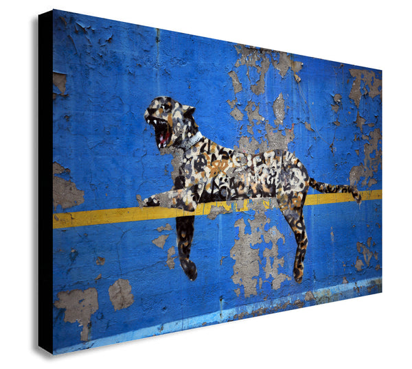 Banksy Bronx Zoo Leopard Modern Wall Art Canvas Print Framed - Various sizes