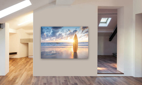 Surfboard - Beach Sunset - Canvas Wall Art Print. Various Sizes