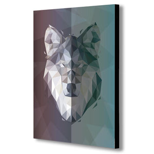 Wolf - Geometric Abstract Modern Canvas Wall Art Framed Print - Various Sizes