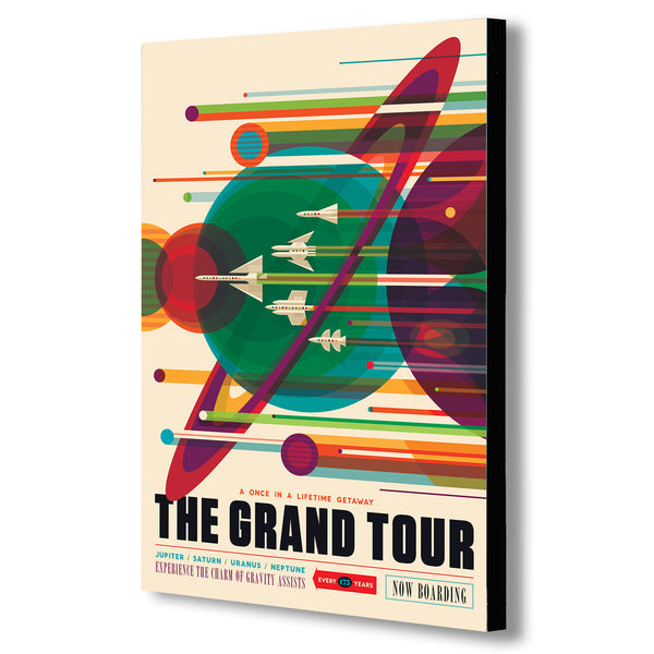 The Grand Tour - NASA Space, Saturn, Retro, Vintage Style Canvas Wall Art Framed Print.