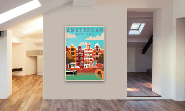 Amsterdam, Holland - Retro - Vintage - Canvas Wall Art Framed Print. Various Sizes
