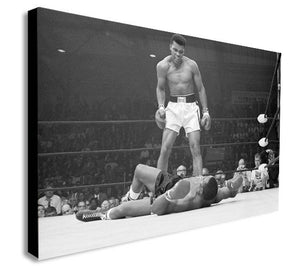 Muhammad Ali vs Sonny Liston - Famous Knockout Canvas Wall Art Framed Print - Various Sizes