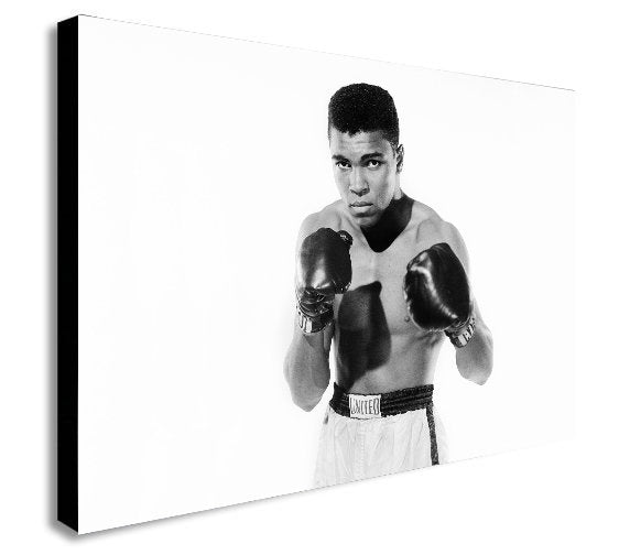Muhammad Ali - Young Black and White Canvas Wall Art Framed Print - Various Sizes