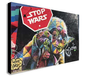 YODA - Stop Wars - Banksy Style - Canvas Wall Art Print - Various Sizes