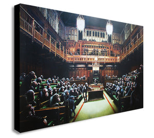 Banksy - Chimps Houses Of Parliament - Canvas Wall Art Print - Various Sizes