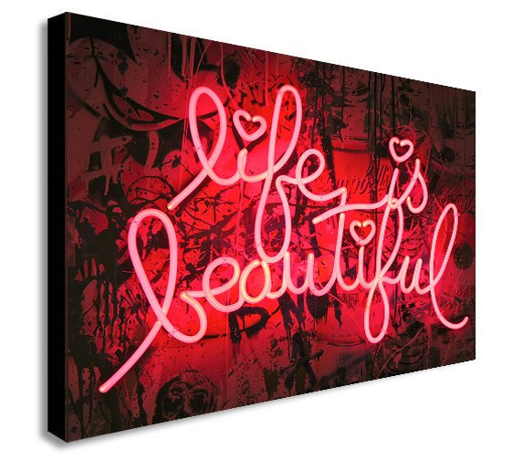 Life Is Beautiful Neon Lights - Canvas Wall Art Print - Various Sizes