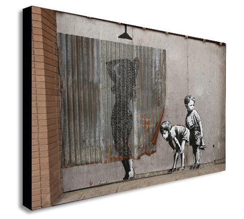 Banksy - Lady Shower - Peeping Tom Boys - Canvas Wall Art Print - Various Sizes
