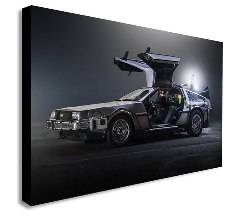 Back To The Future DeLorean - Canvas Wall Art Print. Various Sizes