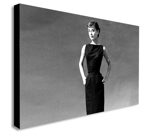 Audrey Hepburn - Black Dress - Canvas Wall Art Print - Various Sizes