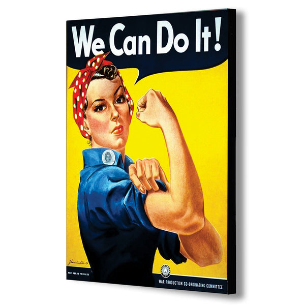 We Can Do It - Wartime Propaganda Vintage, Retro  - Canvas Wall Art Framed Print.