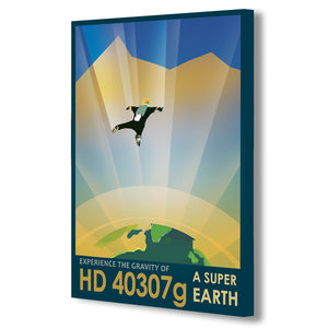 NASA Super Earth HD 40307g planet of the Future Traveler - Canvas Wall Art Framed Print. Various Sizes