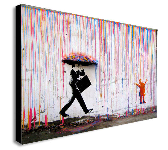 BANKSY Coloured Rain - Canvas Wall Art Framed Print - Various Sizes
