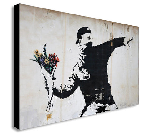 BANKSY - Flower Thrower - Canvas Wall Art Framed Print - Various Sizes