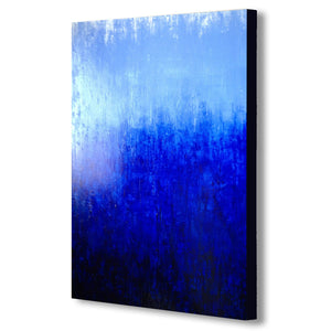 Blue Abstract Modern - Canvas Wall Art Framed Print - Various Sizes