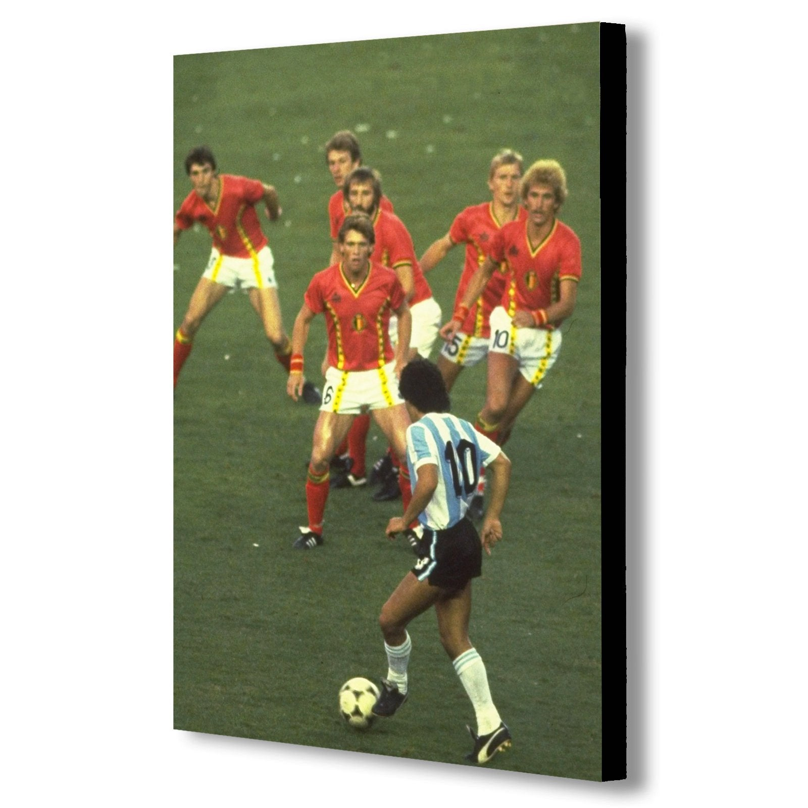 Diego Maradona taking on six Belgium players - Canvas Wall Art Print - Various Sizes