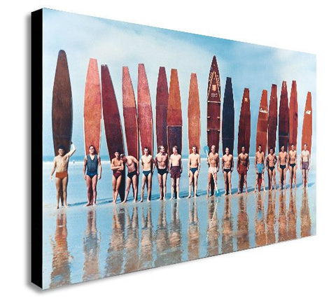 Surfers - Evolution of the Surfboard - Retro - Canvas Wall Art Print. Various Sizes